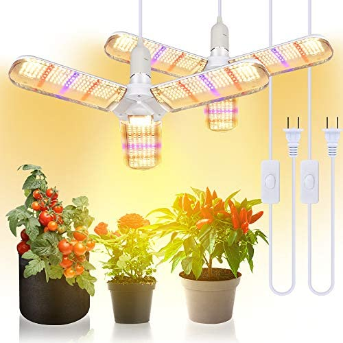 150W LED Grow Light Bulb Foldable Sunlike Full Spectrum Lamp for Indoor Plants, 414 LEDs Sunlike Grow Lights with Power Cord, E27 Plant Lamp for Flowers, Vegetables, Greenhouse Hydroponic 2 Pack