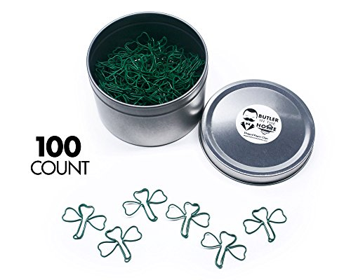 Butler in the Home Shamrock Clover Shaped Paper Clips Great For Paper Clip Collectors or Office Gift - Comes in Round Tin with Lid and Gift Box (100 Count Green)