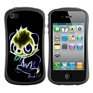 Fuerte Suave TPU GEL Caso Carcasa de Protección Funda para Apple Iphone 4 / 4S / Business Style Glowing Panda
