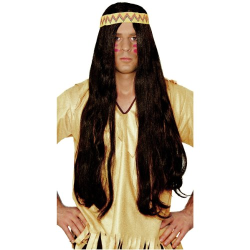 60s Hippie Long Hair w/ Headband Wig (brown) Adult Halloween Costume (Long Hair Halloween Costumes)