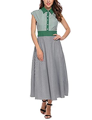 ACEVOG Women's Vintage Cap Sleeve Contrast A Line Plaid Long Maxi Dress