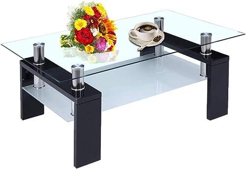 Rectangle Glass Coffee Table,Modern Side Coffee Table