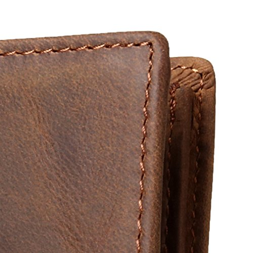 YEX Mens RFID Blocking Bi-fold Wallet, Natural Cowhide Leather