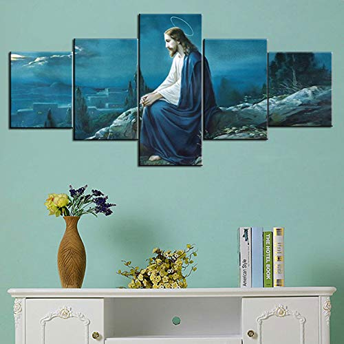 Gethsemane Jesus Picture Framed Wall Art for Living Room Christian Painting 5 Panel Canvas Artwork Print On Canvas Home Decor Artwork,Giclee Gallery-wrapped Stretched Ready To Hang(50''Wx24''H) (Picture Jesus)