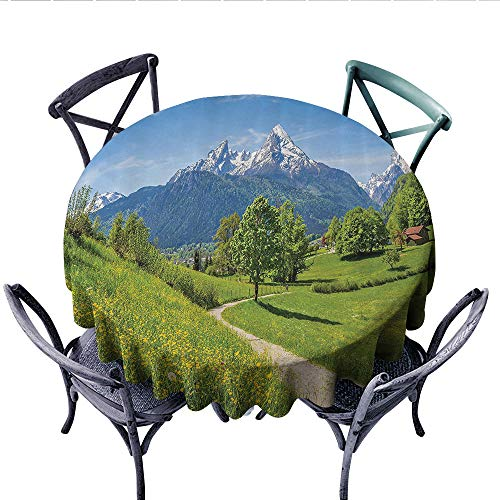 Apartment Decor Customized Round Tablecloth Wildflowers in The Alps and Snow-Capped Mountains National Park Bavaria Germany Waterproof Circle Tablecloths (Round, 54 Inch, Yellow Green)