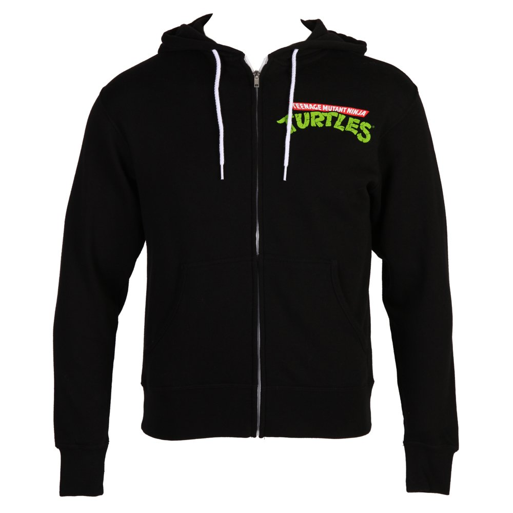 Teenage Mutant Ninja Turtles Classic TMNT Group Black Zip-Up Hoodie (Adult Small)