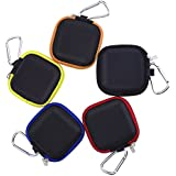 eBoot Earbud Case Mini Carrying Pouch with Carabiner for Earphone and USB Cable, 5 Colors
