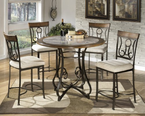 Hops 4pc Round Counter Height Table and Stool Set