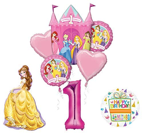 Mayflower Products Princess 1st Birthday Party Supplies Belle Balloon Bouquet Decorations -