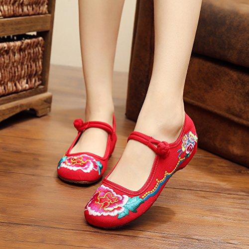 veowalk bordados Jane hebilla de zapatos paño disfraz Rojo Ballets de de plano lona para mujer Mary flores algodón comodidad AA1rzdvq
