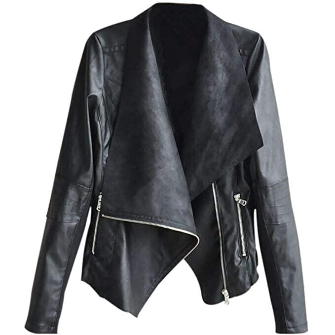 Etosell Women's Casual Lapel Faux Leather Jackets Oblique Zipper Biker Motorcycle PU Punk Coat