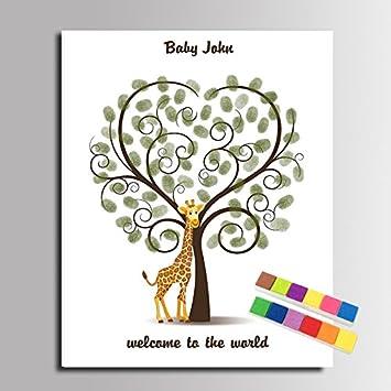 Fingerabdruck Baby Dusche Baum Malerei Giraffe Diy Thumbprint