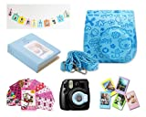 Fujifilm Instax Mini 8 Instant Camera Accessory Bundles Set (Included: Blue Mini 8 Vintage Case Bag/ 64 Pockets Blue Hard Cover Instax Mini Book Album/ Blue Mini 8 Close-Up Lens(Self-Portrait Mirror)/ Wall Decor Hanging Frame/ 3 Inch Photo Frame/ Colorful Hello Kitty Decor Sticker Borders) - Blue