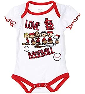 b464c915166 Outerstuff MLB St. Louis Cardinals Baby Girls Infants Peanuts Love Baseball  Creeper