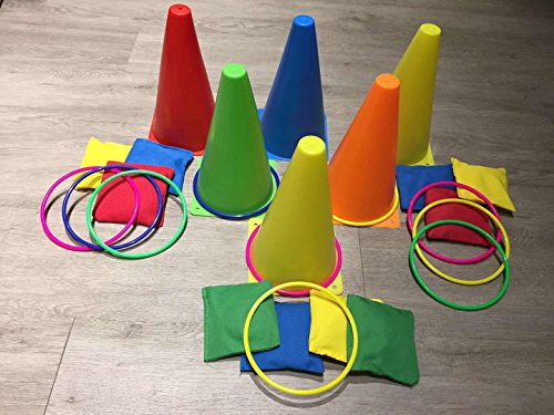 Any Beauty 3 In 1 Carnival Combo Set Cornhole Bean Bags Ring Toss Game and Plastic Cone Set 26 Piece (Football Toss Carnival Game)