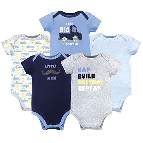 Luvable Friends Unisex Baby Cotton Bodysuits, Trucks Short Sleeve 5 Pack, 3-6 Months (6M)