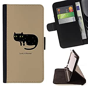 BullDog Case - FOR/HTC One M7 / - / Funny Look 4 Moons Cat /- Monedero de cuero de la PU Llevar cubierta de la caja con el ID Credit Card Slots Flip funda de cuer