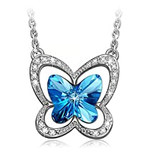 Swarovski Crystals Necklace, LadyColour Blue Butterfly Pendant Necklace Jewelry for Women Teen Girl Birthday Gifts for Girlfriend Girls Daughter Niece Granddaughter Sister Best Friend