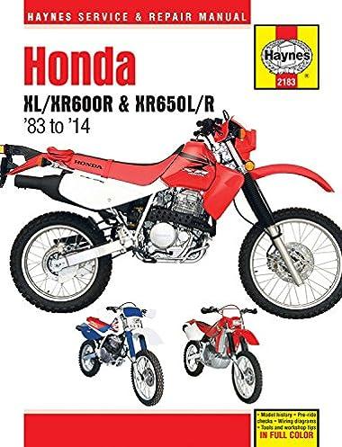 honda xl xr600r xr650l r 1983 2014 repair manual haynes repair rh amazon com 2009 honda xr650l owner's manual 2000 honda xr650l service manual