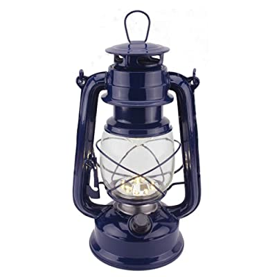Vintage LED Hurricane Lantern, Warm White Battery Operated Lantern, Antique Metal Hanging Lantern with Dimmer Switch, 15 LEDs, 150 Lumen for Indoor or Outdoor Usage (Dark Blue): Home Improvement