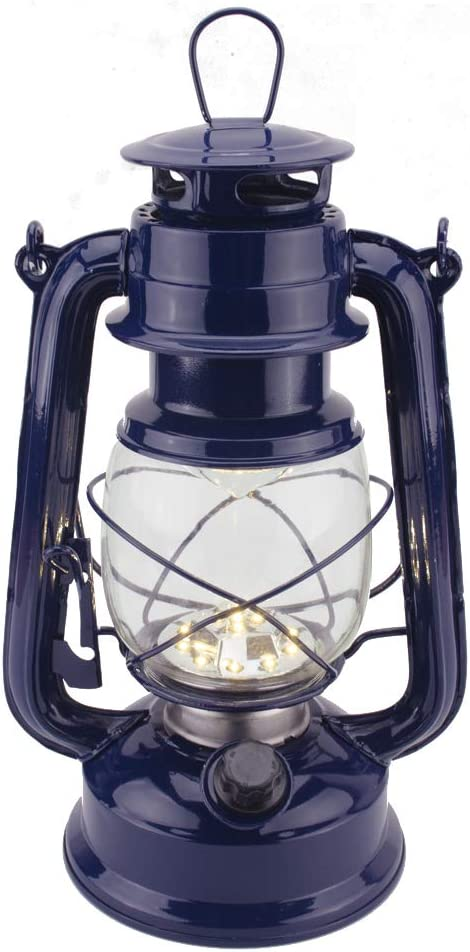 Vintage LED Hurricane Lantern, Warm White Battery Operated Lantern, Antique Metal Hanging Lantern with Dimmer Switch, 15 LEDs, 150 Lumen for Indoor or Outdoor Usage (Dark Blue)