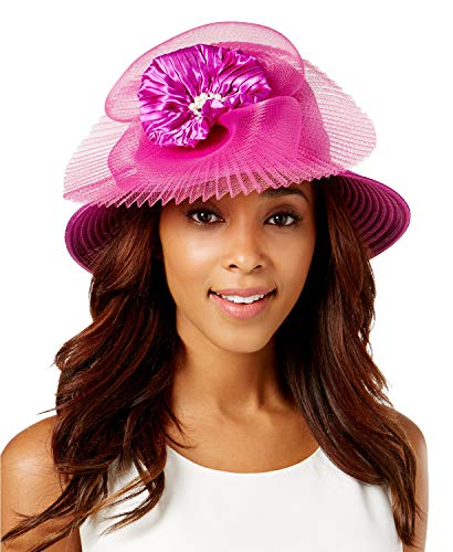 6ff7d47431060 August HAT Company Women's Satin-Stripe Embellished Dressy Cloche, Purple,  One Size