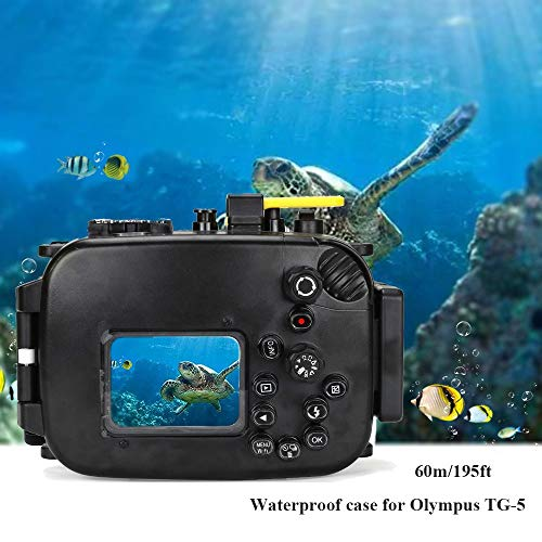 Seafrogs Waterproof case for Olympus TG-5, with Dome Port and Full Color Red Filter Kit, Underwater Camera Housing Case/ 60m/195ft, Apply to take Half Above Water Half Underwater Video/Pictures-Black by HolaFoto (Image #6)