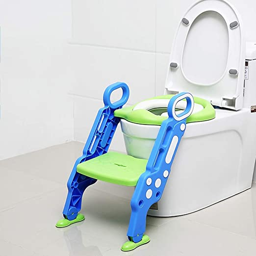 Baby Toilet chairpotty Childrens Toilet Seat Ladder Chair Female Baby Child Boy Toilet Cover Baby Seat Washer Stair Color : Blue