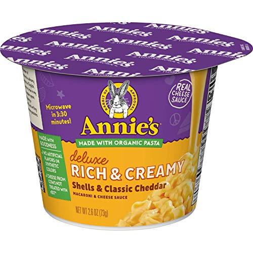 Annie's Deluxe Rich & Creamy Shells & Classic Cheddar Macaroni & Cheese Sauce, 2.6 oz Microcup (Pack of - Shells Annies