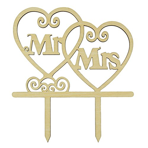 LOVENJOY with Gift Box Mr and Mrs Monogram Wedding Engagement Cake Topper Rustic Wood (5.5-inch) by LOVENJOY (Image #4)