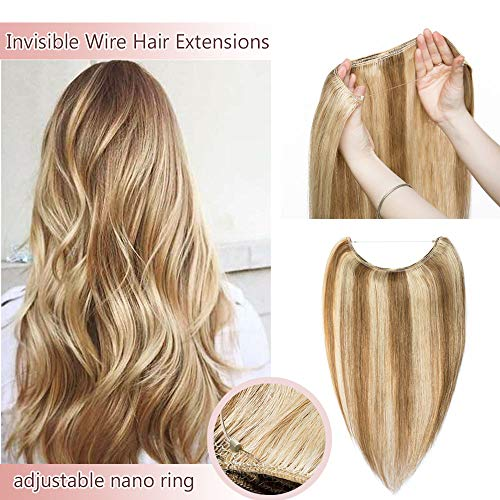 Hidden Invisible Crown Human Hair Extensions One Piece Secret Miracle Wire In Hairpiece With Transparent Fish Line Headband No Clips No Tape #12P613 Golden Brown&Bleach Blonde 18