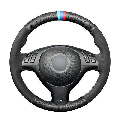 (Loncky Black Genuine Leather Black Suede Auto Custom Steering Wheel Covers for BMW E46 E39 330i 330Ci 525i 530i 540i M3 2001 2012 2003 Interior Accessories Parts)