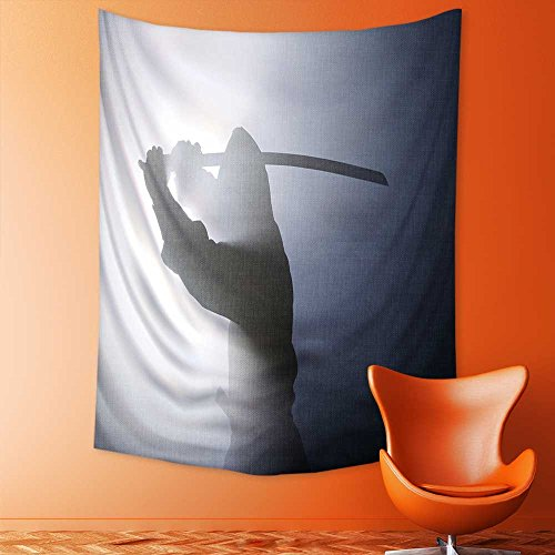 SCOCICI1588 Wall Hanging Tapestries A Real Ninja Shot on a Smoke Filled Room and Strobe Light to Achieve a Dramatic Effect. Bedroom Living Room Dorm Decor 70W x 93L INCH