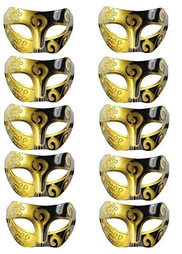 10PCS Mardi Gras Mask Half Face Masquerades Venetian Masks Retro Knight Prince Costume Masks for Dance Ball Prom Unisex Men/Women (Black&Gold)