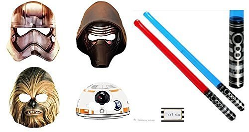 Star Wars Battling Party Pack - 8 Party Masks (2 Captain Phasma - 2 Chewbacca - 2 Kylo Ren And 2 BB-8) & 8 Blow Up Red and Blue Lightsabers -