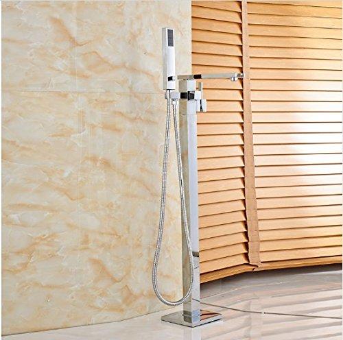 Gowe Chrome Finish Bathtub Mixer Faucet Single Handle with ABS Handshower (Single Handshower Handle)