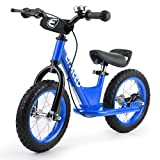 ENKEEO 12 inches Sport Balance Bike No Pedal Control Walking Bicycle Transitional Cycling Training Rubber Tires, Adjustable Seat Upholstered Handlebars Kids Toddlers