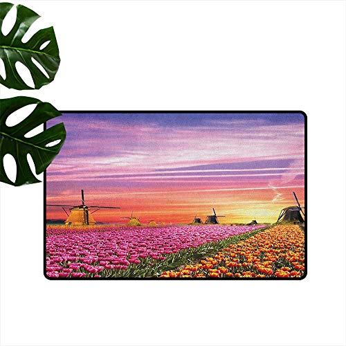 Quick View Tulip - Nature Thin Door mat Tulip Fields and Windmills in European Landscape with a Sunset Sky View Quick and Easy to Clean W29 x L39 Orange Pink Purple
