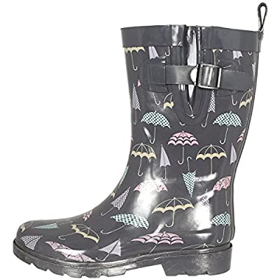 Capelli New York Shiny Floral Printed Mid-Calf Rain Boot