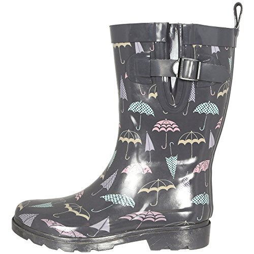 - Capelli New York Ladies Umbrella Printed Mid- Calf Rain Boot Grey Combo 9