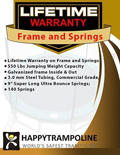 Happy Trampoline - Galactic Xtreme Gymnastic Outdoor Trampoline with Net Enclosure - High Performance Commercial Grade I Life-time Warranty, Heavy Weight Jumping Capacity (10 X 20 Ft, Rectangle)