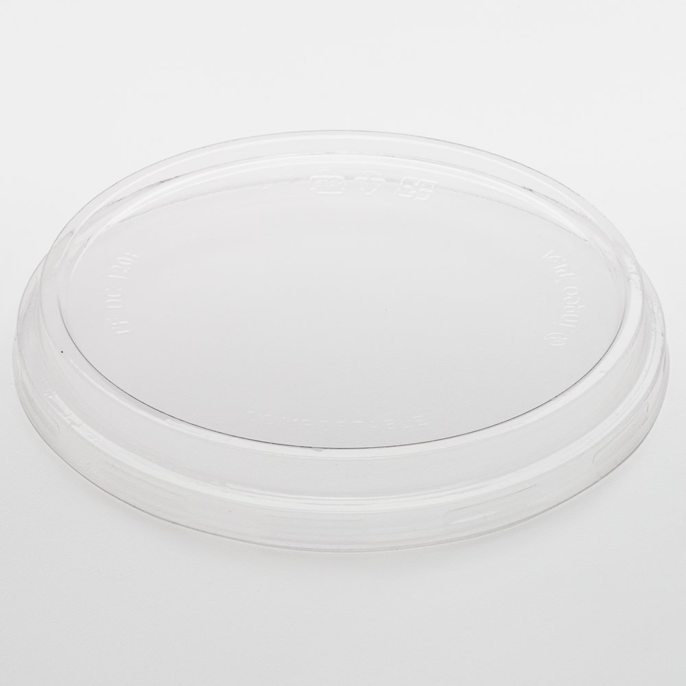 500-CT Disposable Clear Flat Lid for Basic Nature Clear Round Deli Container: Perfect for Catering Events & Restaurant Takeout – Compostable and Biodegradable PLA Plastic Container Lid