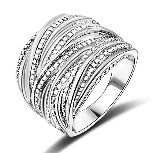 Sterling Silver Solid Fancy Ring - Mytys Fashion Silver Intertwined Statement Ring Band Rings for Women Men 18mm Wide (10)