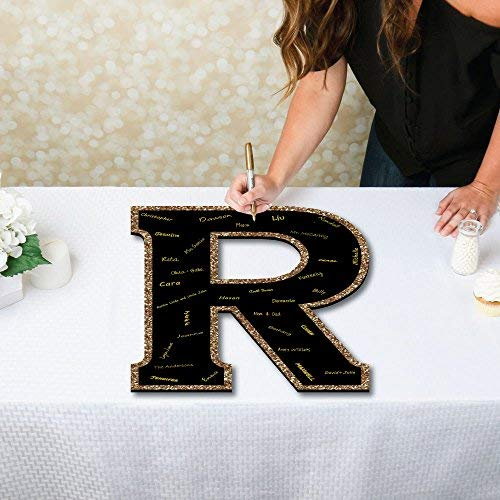 Big Dot of Happiness Signature Letter R - Guest Book Sign Letter - 21'' Foam Board Party Guestbook Alternative | Black with Gold Monogram Letter - R