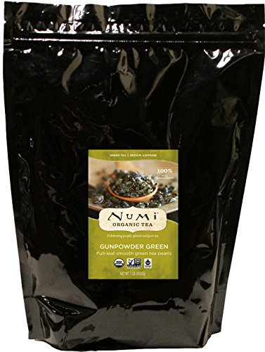 Numi Organic Tea Gunpowder Green, 16 Ounce Pouch of Bulk Premium Loose Leaf Green Tea (Packaging May Vary), Organic Full Leaf Green Tea, For Use in Tea Pot or Tea Strainer