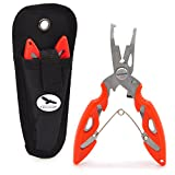 Freehawk Multi Function Stainless Steel Fishing Pliers Curved Nose Scissors Braid Cutters Hook Removers Fishing Line Cutters with Nylon Sheath in Orange