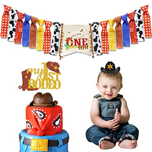 (Cowboy First Birthday Party Decorations Cowboy Highchair Banner My 1st Rodeo Cake Topper Cowboy Birthday Hat for Western Themed Cowboy Cowgirl Baby Birthday Party)