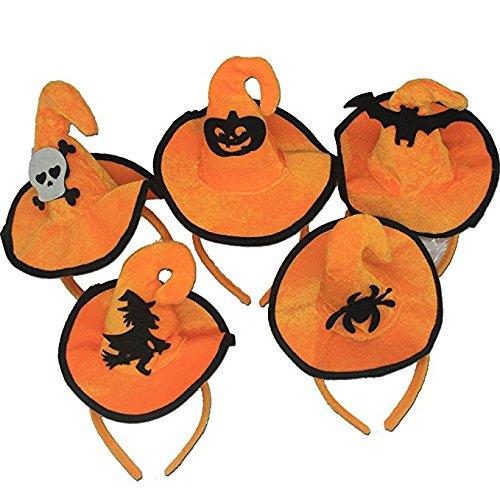 Halloween Headband,Pumpkin Hair Hoop Skull Hair Clasp Spider/Bat/Orange Witch Hat Hair Band Cosplay Headdress for Kids Adults Party Decoration (Pack of 5) (Creative Ideas For Halloween Pumpkins)