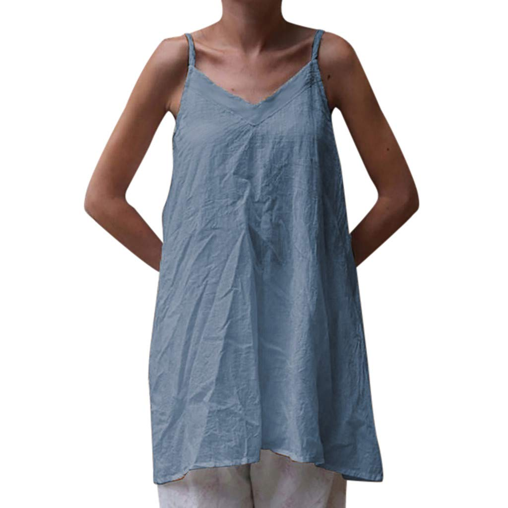 FONMA Womens V-Neck Tops Solid Camisole Sleeveless T-Shirt Casual Tunic Vest Blouse Sky Blue