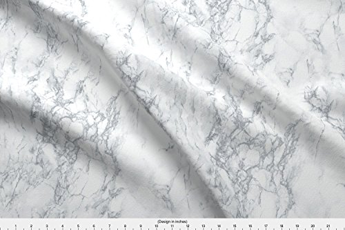 Spoonflower Marble Fabric - Marble Black White Texture Stone - by Kimsa Printed on Basic Cotton Ultra Fabric by The ()